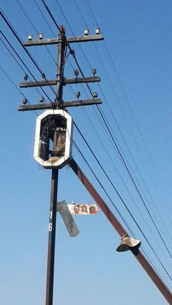 Blue Low Angle View Clear Sky Cable Sky Sunlight Power Line  Pole No People Outdoors Day Technology Nature
