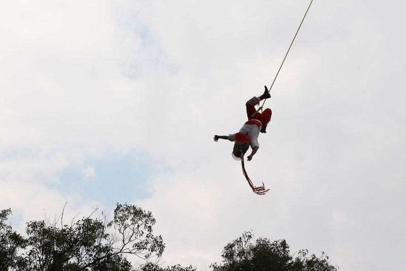Low Angle View One Person Adventure Exhilaration Freedom Skill  Extreme Sports Outdoors People Sky Day Challenge Courage Rappelling Adult Mexico Mexico City Ciudad De México Dance Danza Voladores De Papantla Papantla Culture Go Higher