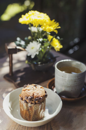 Muffin Baked Baked Pastry Item Break Cup Drink Flower Food Muffin No People Outdoors Sweet Food Table Tea Tea Time
