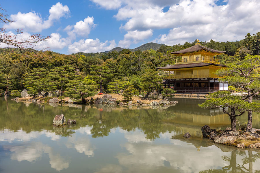 Beautiful scenery at Kinkaku-Ji in Kyoto, Japan Japan Kyoto Kinkakuji Kinkakuji Temple Kinkaku-ji Golden Pavilion Kinkaku-ji Golden Shrine Golden Pavillon Spring Sunny Day Sun And Clouds Reflection Tranquility