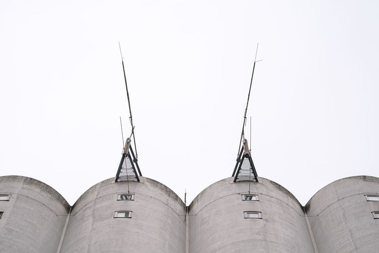 High angle view of grain store against sky