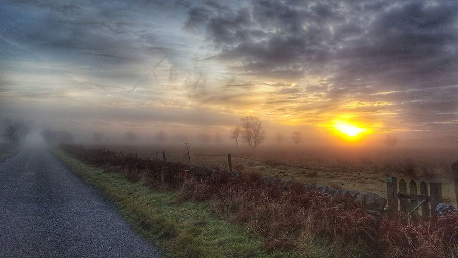 Misty sunrise. Nature Landscape Beauty In Nature Tranquility Rural Scene Tree Field Outdoors Cloud - Sky Sky Hills Naturephotography Cloudsporn Cloud Formations Peak District  Cloud Inversion Road Nature Photography Clouds And Sky
