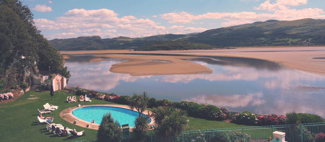 Portmeirion estuary Sea Beach Mountains Landscape Trees Swimming Pool Portmeirion Estuary Sky Travel Photography Sun Snowdonia Clouds Reflection Summer Nature Ocean People Festival No.6 Festival No6 Photooftheday Picoftheday Outdoors Mountain View