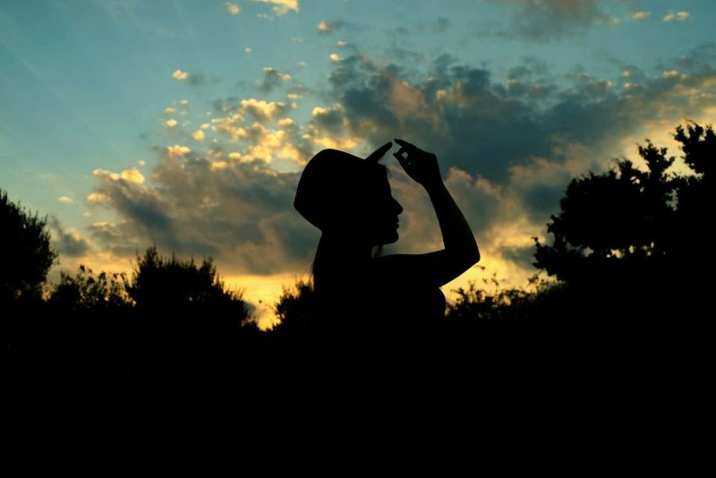 Well Turned Out Sunset Clouds Greece Trees Hat Woman Silhouette Flowers Nature
