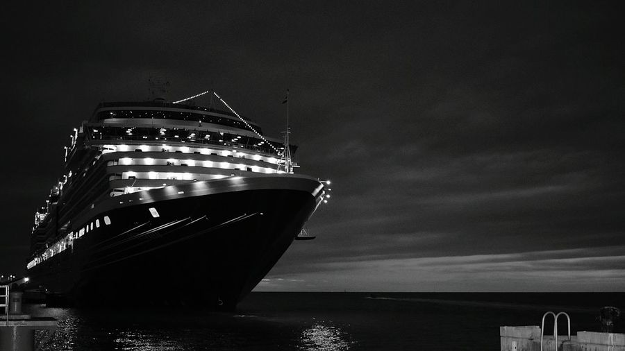 Illuminated Night Sea Ship Water Outdoors Harbor No People Architecture Nautical Vessel City Sky Beauty In Nature Key West For The Love Of Black And White Monochrome Black & White Zenphotography Zen A Moment Of Zen... Seascape Photography Mallory Square Miles Away