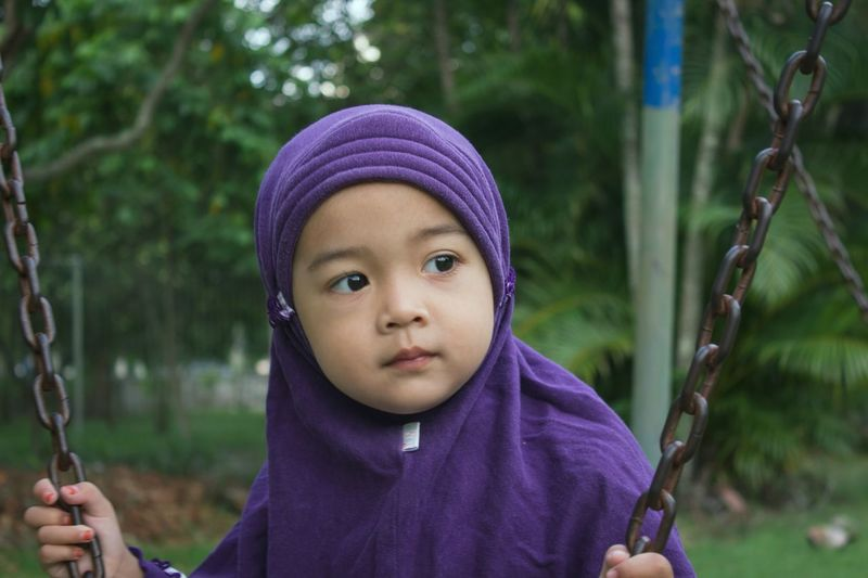 Child Children Only Childhood Portrait People Outdoors Purple One Person Looking At Camera Warm Clothing Day Forest Winter Close-up Tree Adult Portraits Portrait Photography Portrait Of A Woman Hijab Hijabstyle  Hijabbeauty Hijabfashion
