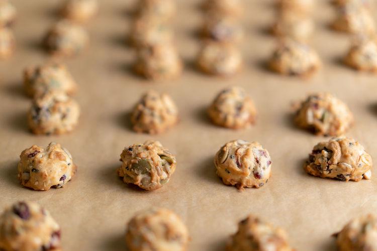 Grains cookies on waxed sheet.