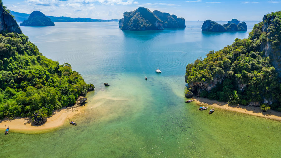 Nature seascape island and mountain green forest and beautiful sand beach at ao nang rairay tourist