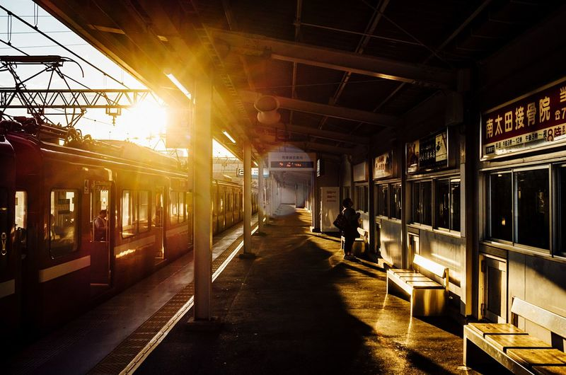 Alone In The City  Alone Time Empty Places Stopping Time Sunlight And Shadow Sunlight Reflection Train Station Yokohama Yokohama, Japan November November 2017 Rail Transportation Transportation Public Transportation Train - Vehicle Built Structure Sunlight Mode Of Transport