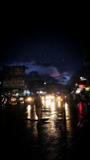 Illuminated City Water Car Wet Sky Rainy Season Weather Vehicle