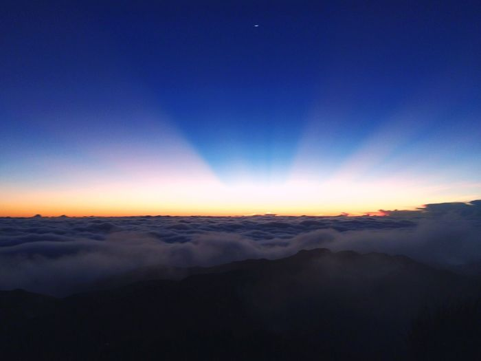 Scenics Tranquil Scene Tranquility Beauty In Nature Mountain Idyllic Landscape Sunrise Mt. Pulag Philippines Majestic Nature Blue Cloudscape Aerial View Non-urban Scene Remote Cloud - Sky Clear Sky Sky Outdoors The Natural World