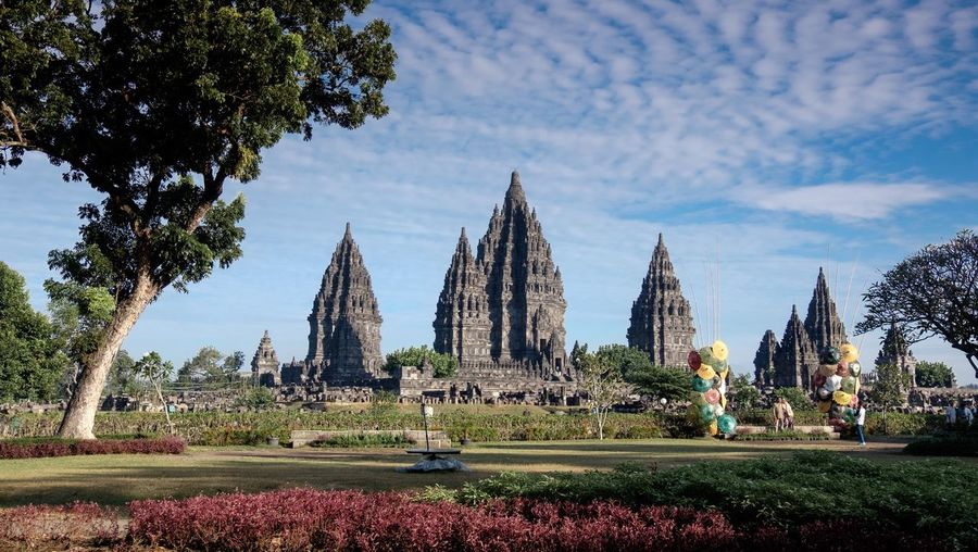 Prambanan Temple Plant Sky Tree Architecture Built Structure Building Exterior Nature Religion Travel Destinations Spirituality Growth Place Of Worship Cloud - Sky Day Building Belief No People Garden Tourism Outdoors