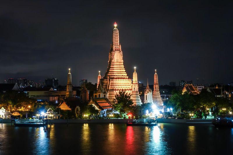 Pagoda Thailand Architecture Building Exterior Night Temple Travel Destinations Watarun Watarunbangkok