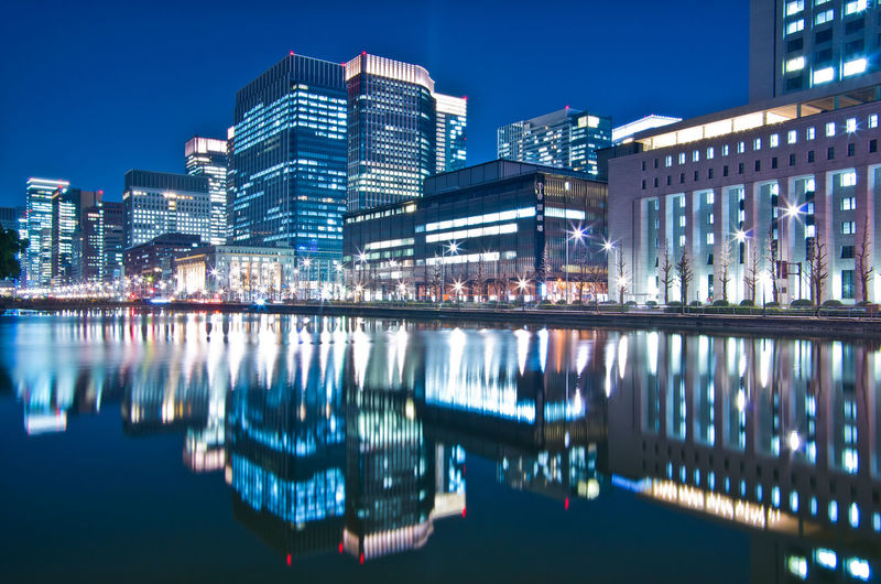 Building Exterior Architecture Built Structure Water Reflection City Illuminated Building Night Waterfront Nature No People Sky Office Building Exterior Residential District Modern Glowing Outdoors Cityscape Skyscraper Nightlife Tokyo Tokyo Night Japan Japan Photography