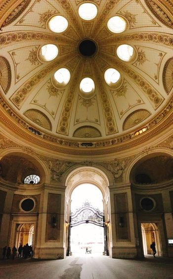 Arch Architecture Indoors  The Way Forward Built Structure Day No People Vertical Panoramic Cityscape Shotoniphone7 Against The Light Silhouette Street Photography Vienna Austria Dome Streetphotography Palace Ceiling