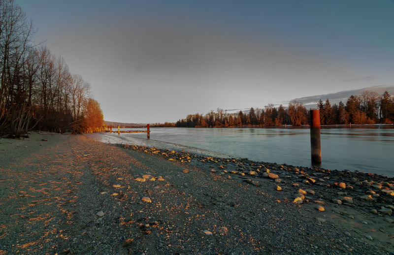 Long exposure shot of sunset on the Fraser River in Port Coquitlam BC Tree Sky Water Tranquility Nature Plant No People Tranquil Scene Scenics - Nature Beauty In Nature Winter Non-urban Scene Cold Temperature Day Outdoors River Sunset Golden Hour Copy Space Backgrounds Port Coquitlam British Columbia, Canada Fraser River Shadow