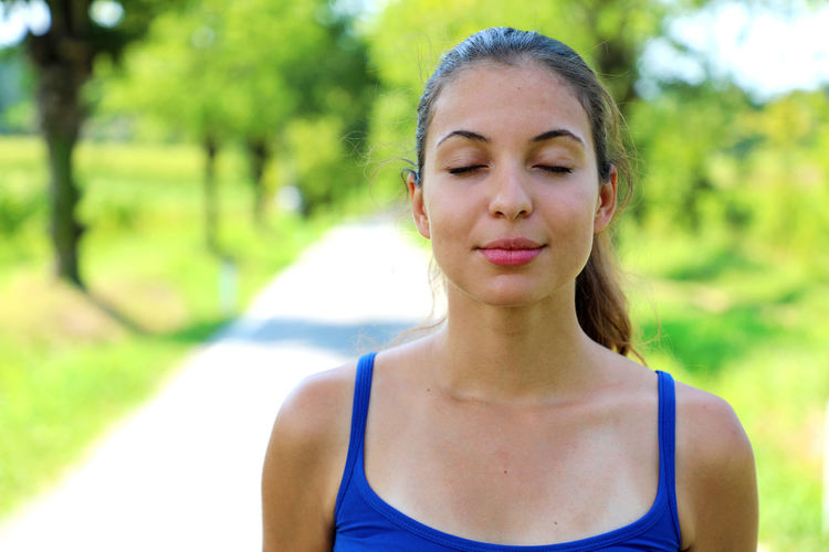 Girl breathes Breath Breathing Breathing Space Nature Breathe Breathing Exercises Breathing Fresh Air Closed Eyes Woman Breath Woman Nature Young Woman