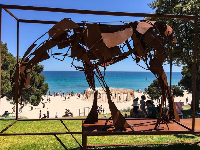 Horse Sculpture Overlooking Cottesloe Beach Animal Sculpture Horse Metal Horse Sculpture Arts And Entertainment Three-dimensional Modern Art Tourist Attraction  March 12,2016 Sculptures By The Sea Cottesloe Beach Western Australia ArtWork Art Arts Festivals Tourists Sculpture Culture Artistic Expression Overlooking The Sea Beach Indian Ocean Event Animal Families