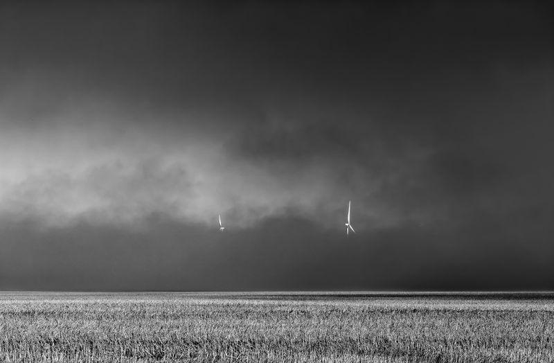 Smoke Windmill Black And White Cloud - Sky Field Fog Land Rural Scene Sky