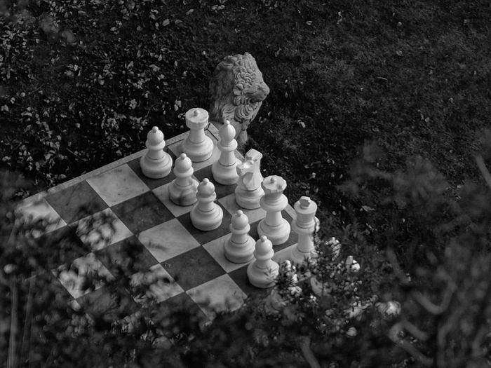 High angle view of chess pieces on landscape