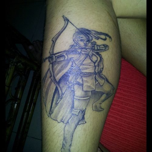 ARTEMIS - Hellenic goddess of the hunt, wild animals, wilderness, childbirth, virginity and protector of young girls, bringing and relieving disease in women; she often was depicted as a huntress carrying a bow and arrows. By: @PornPorn @doncorpus Doncorpus InkedClown InkedClowntattoo LegTatt Tattoo skinbling tat bodyArt artemis