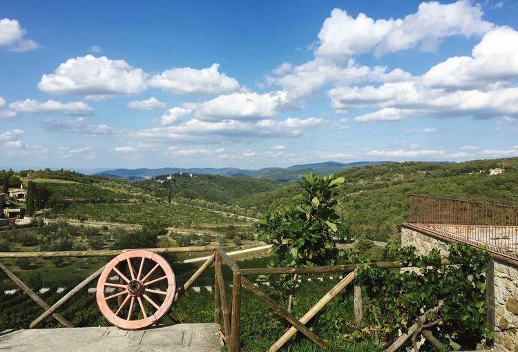 Vinyard Poggio Amorelli Vino Italian Wine Landscape Green Wheel Clouds Chianti