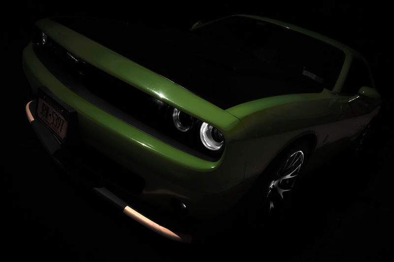 High angle view of illuminated car