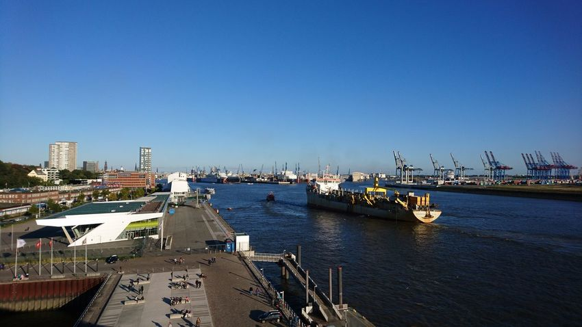 Elbe. Hamburg Germany Hh Elbe Elbe River Boats Harbor Port Hamburg Harbour Boats On The River View Great View Blue Sky Blue Beautiful Day Nautical Vessel City Sky Outdoors No People Harbor Architecture