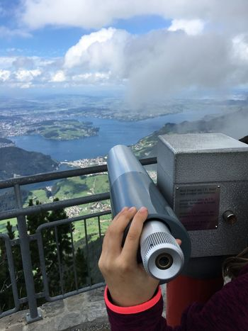 Stanserhorn Telescope View Mountains Top Of The Mountain Tourist Lake Lake Lucerne Vierwaldstättersee Green Sky Clouds Blue IPhoneography IPhone 6s Plus Switzerland Tourism A Bird's Eye View