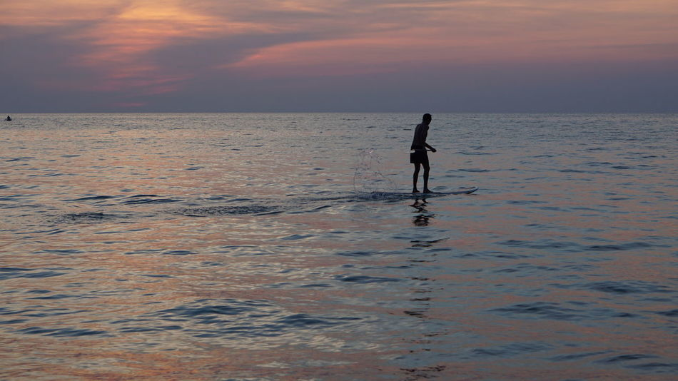 Water Sea Paddleboarding Sportsman Sunset Beach Full Length Sport Standing Athlete Ankle Deep In Water Shallow Clear Surfboard Kiteboarding Aquatic Sport Surf Surfing Water Sport Silhouette Low Tide Wave Shore