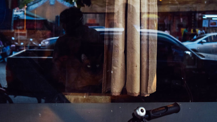 Reflection of man on glass window on street
