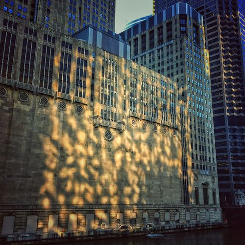 Sun Reflecting off the River Chicago Architecture Civic Opera House in the Chicagoloop Beauty Is In The Eye Of The Beholder Urbanphotography Appreciate The Scenery Where I Am IPhone Amateurphotography Eyemgallery EyeEm Best Shots EyeEmBestPics EyeEm Best Shots - Sunsets + Sunrise EyeEm Best Shots - Architecture Eye4photography  EyeEm