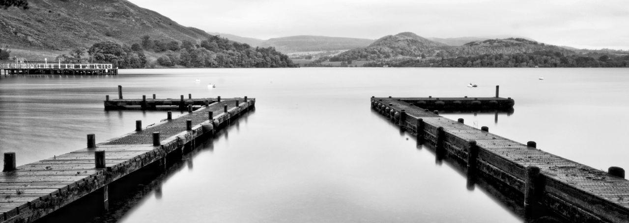 Ullswater Howtown Lake District The Lake District  Lakedistrict Cumbria Lake Symmetrical Symmetry Blackandwhite Still Jetty View Jetty Pier