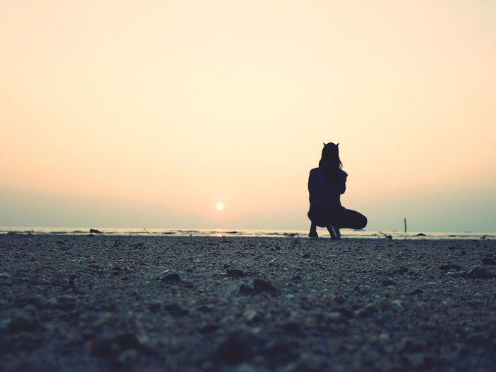 摄影 Sunset Silhouette Sand Copy Space Nature Outdoors Sea Sky First Eyeem Photo