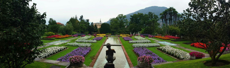 Colorful View Gardens Rainy Day in Villa Taranto Italy