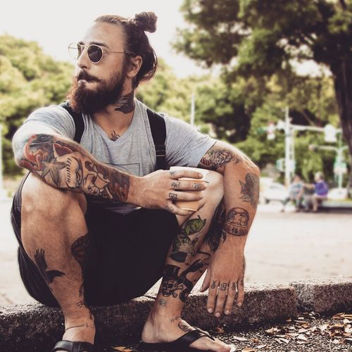 Matthew! Lotus Pond Taiwan Kaohsiung, Taiwan Kaohsiung Young Men One Person Sitting Facial Hair Real People Beard Looking Away Young Adult Lifestyles Focus On Foreground Front View Males  Tattoo Men