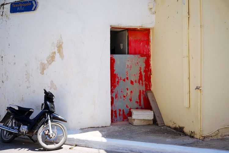 Kastelli Crete Greece Door Entrance Architecture Built Structure Building Exterior Transportation Building No People Day House Mode Of Transportation Wall - Building Feature Closed Scooter Old Residential District Outdoors