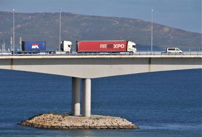 Algeciras Clear Sky Bidge Car Day España Mountain Range No People Red Sea Transportation Trucks