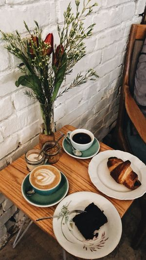 Coffee & Cake Food And Drink Plant Table Drink Still Life Food No People Plate Coffee Cup Ready-to-eat Refreshment Vase Mug Coffee - Drink Crockery Freshness Indoors  High Angle View