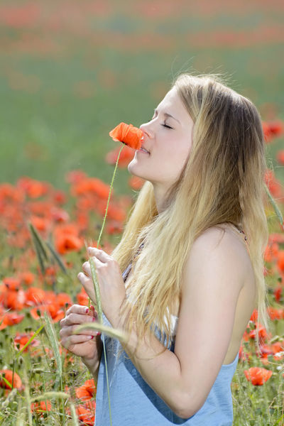 woman in poppy field Balance Beautiful Blossom Breathe Confidence  Downtime Enjoying Flower Flower Meadow Girl Graceful Happy Joy Meadow Papaver Poppy Poppy Field Relaxing Slow Movement Smelling Summer Time Out Woman Young Young Woman