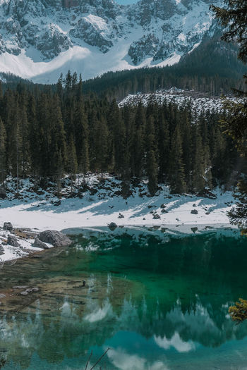 Scenic view of snowcapped mountains and lake