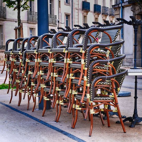 Bistro Break The Mold Cafe Chair Chairs Coffee Time Day EyeEmNewHere In A Row Large Group Of Objects No People Outdoors Restaurant Sidewalk Cafe Stacked Stacked Chairs