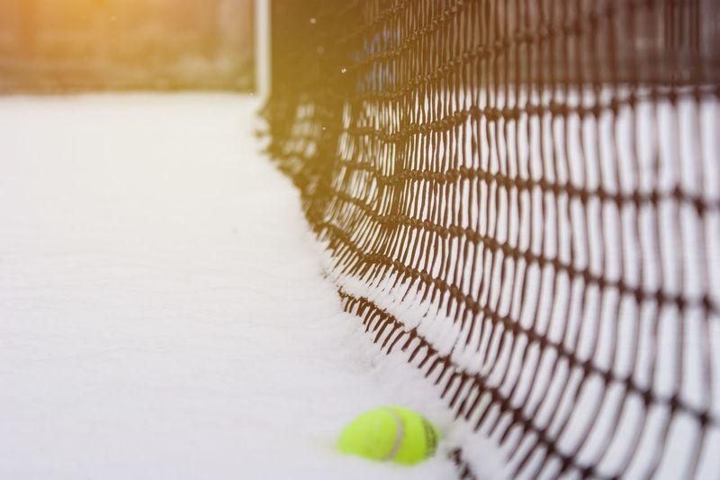 Morning Tennis Ball Winter Sport No People Snow On The Tennis Court Tenniscourt Tenniscourt Winter Winter Tennis