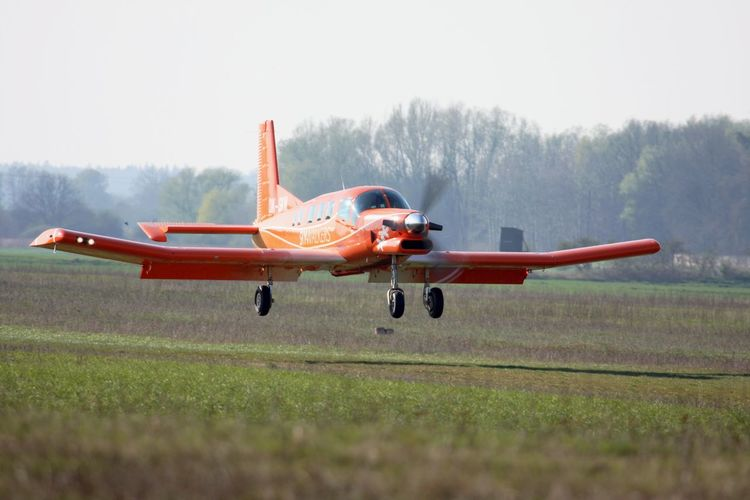 Landing PAC 750 XL Air Vehicle Airplane Clear Sky Day Flying Mid-air Motion Nature No People Old-fashioned Outdoors Propeller Airplane Sky Technology Transportation