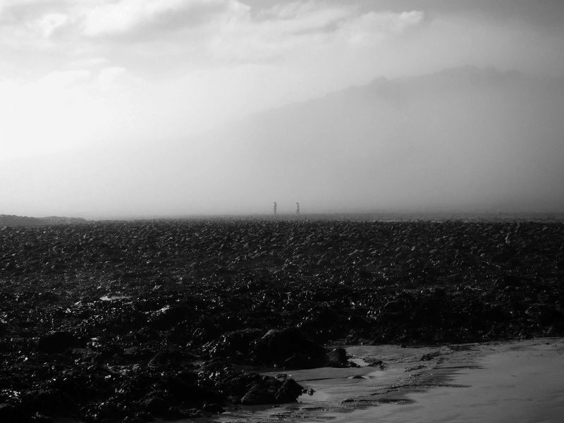 Misty day on the beach Langland Bay Misty Beachphotography Blackandwhite Pebbles And Stones People Sand Sky Stones