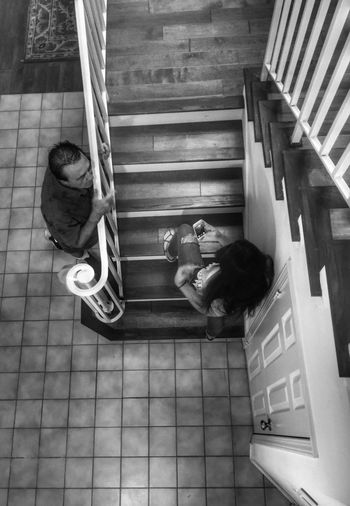 Relaxation Full Length Lifestyles Casual Clothing Men Leisure Activity Directly Above Person Steps Convenience Lying Down Resting Well-dressed Day Young Adult Blackandwhite From My Point Of View People And Places Check This Out