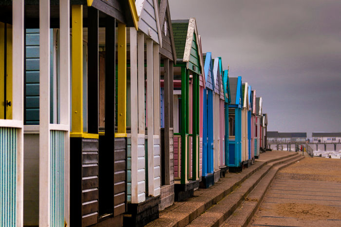 Beach Beach Huts City Day In A Row Multi Colored No People Outdoors Southwold Suffolk