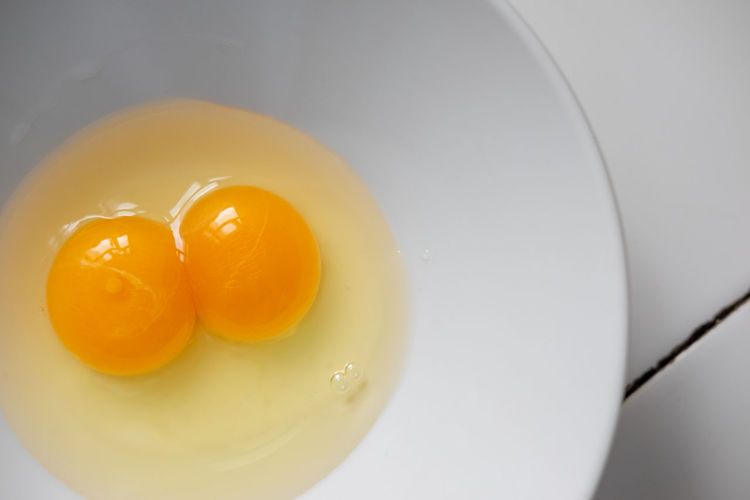 Breakfast Double Yolk Egg Food Freshness Healthy Eating Yellow Yolk