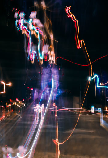 Warzava in neon lights Night Illuminated Long Exposure Motion Multi Colored Glowing City Speed Nightlife Abstract Light Painting No People Built Structure Architecture Blurred Motion