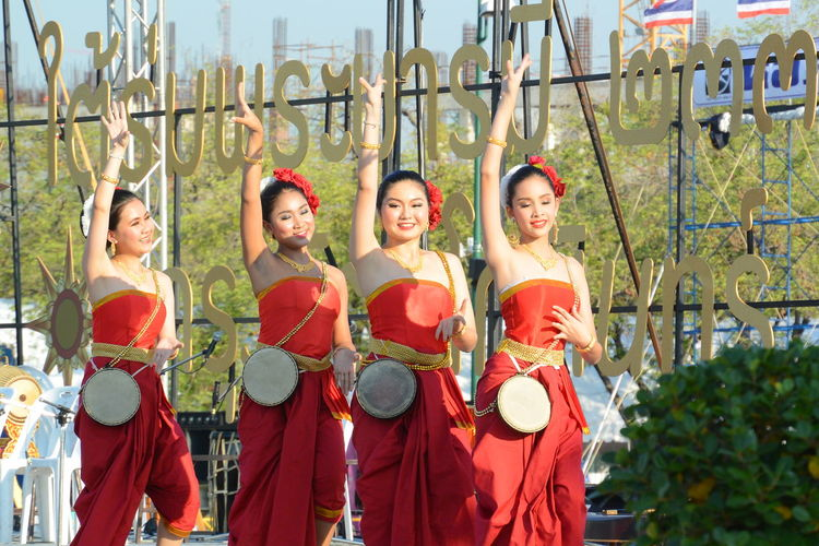 Costume Culture Dance Dancer Dancing Day Enjoyment Fun Happiness Lifestyles Outdoors Person Real People Standing Thai Costume Thai Dance Thaidance Togetherness Tradition Traveling